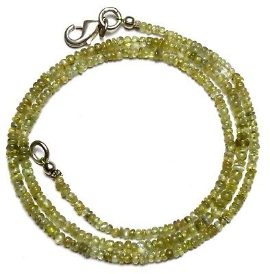 """Natural Gem Chrysoberyl Cats Eye Smooth 3MM Approx Rondelle Beads Necklace 18"""""""