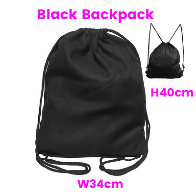 Black Calico Bags Backpack Library Bag Back Pack Calico Cotton Tote Bag
