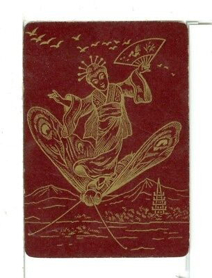 """Single Playing Card Vintage Antique Lacquer """"Japanese Lady"""" JA-1-1 UL, Red/Gold"""