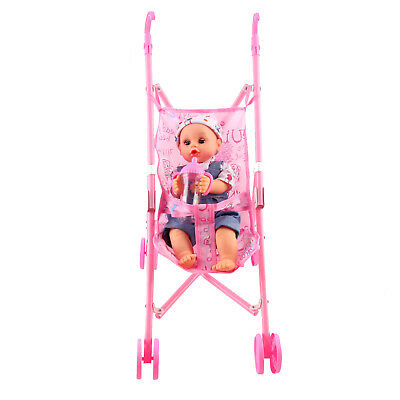 Baby Doll Girls Toy with Pram Buggy Foldable Play Toy Pink Girls Dolls Pram