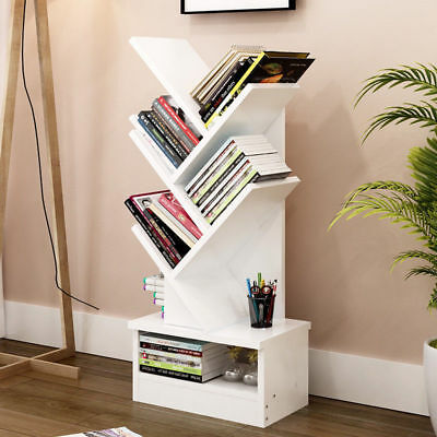 White Y Shape 5 Tiers Wooden Bookshelf Bookcase Storage Shelves Display Art Rack
