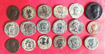 Lot of 18 Uncleaned Larger Roman Desert Coins From ISRAEL VERY NICE !!