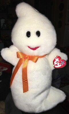 "TY Beanie Buddy Baby Plush White 12"" SPOOKY The Silly GHOST w/Bow Halloween"