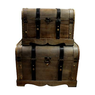Pirate Vintage Large Wooden Colonial Treasure Chest Storage Trunk Box Toy Tidy