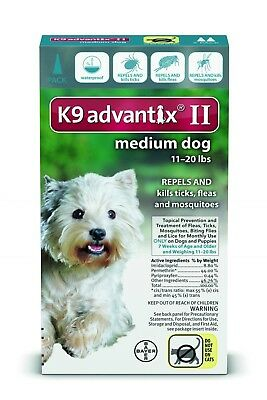 K9 Advantix II Flea & Tick Treatment For Med Dogs 11-20 lb's One Month Supply