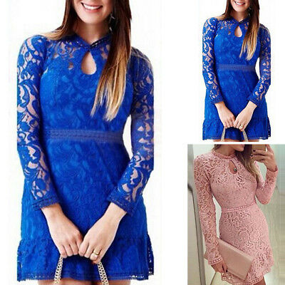 Women's Lace Bodycon Long Sleeve Summer Cocktail Evening Party Short Mini Dress