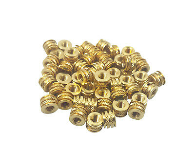 100x #4 #4-40 Brass Threaded Heat Set Inserts for Plastic 3D Printing Metal Nuts