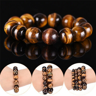 Natural Tiger Eye Stone Lucky Bless Beads Men Woman Jewelry Bracelet Bangle QY