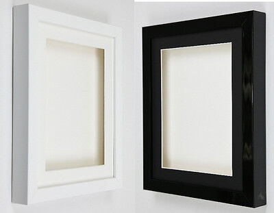 Shadow Box frames 3D Deep Gloss Black or Gloss White with picture mounts medals