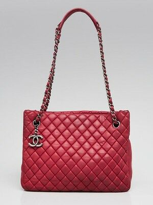 836ae640f77761 Chanel Fuchsia Quilted Iridescent Calfskin Leather New Bubble Small Tote Bag