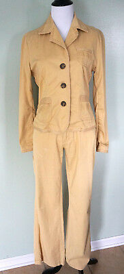 TYLER BOE Womens Yellow Khaki 3 Button Jacket Pants Outfit Pant Suit Sz 6 Small