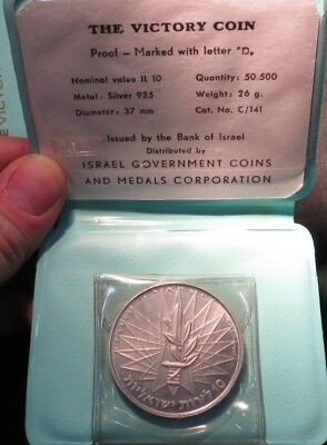 (3) 1967 Israel Victory Coins- Silver Proof- Original Cases BU