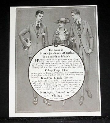 1916 Old Magazine Print Ad, Brandegee-Kincaid, Young Men's College Chap Clothes!