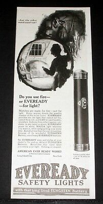 1916 Old Magazine Print Ad, Eveready Safety Tubular Lights And Tungsten Battery!