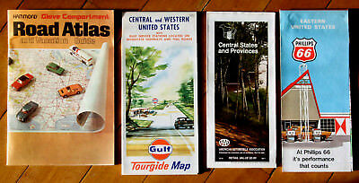 Bulk Lot: 60s 70s Road Maps Western Central Eastern States & Hammond Road Atlas