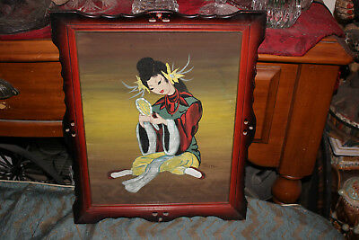 Original Vintage Norman Tolson Painting-Asian Chinese Japanese Woman-Framed