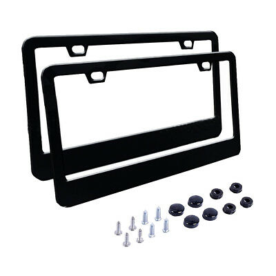 2 X Car License Plate Frame 304 Stainless Steel Black Tag Cover Screw Caps JQ