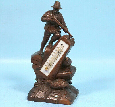 Antique Swiss Black Forest Wood Carving THERMOMETER Hunter Birds Reaumur Celsius