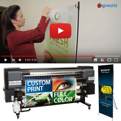 "X Banner Stand Tripod Trade Show Display 24""x63"" + Full color custom vinyl print"