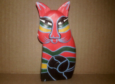 Wood Cat Hand Carved Painted Bright Wooden Folk Art Kitty Abstract Figurine