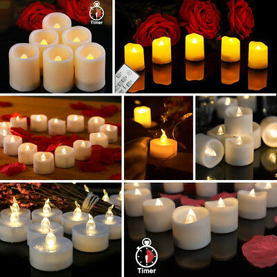 LED Tea Lights Battery Operated Fake Candles Flameless Flickering Decor Festival