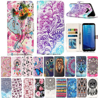 Painted Magnetic Flip Lealther Wallet Case Cover For Samsung Galaxy S9 S9Plus