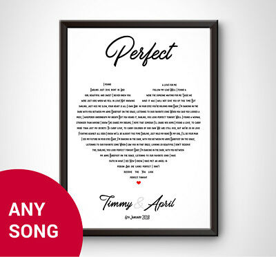 PERSONALISED Birthday Anniversary Song Lyrics Love Gift Ed Sheeran Perfect Wife