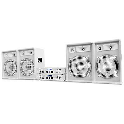 Casse Amplificatore Finale Impianto Set Dj Pa Kit 2400W Disco Audio Speaker
