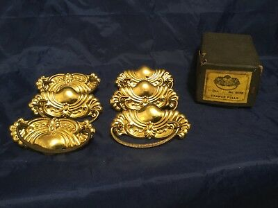 6 VINTAGE NOS BRASS Gold Gilt DRAWER PULLS / HANDLES Dresser