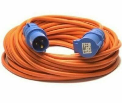 10m Caravan Extension Lead Electric Hook Up Cable 4 Way UK 13a to 16a Adaptor