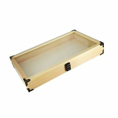 Mooca Natural Wood Glass Top Jewelry Display Case Accessories Storage Box Wit...