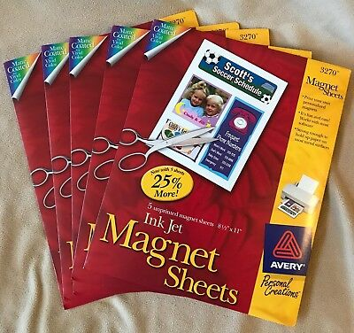 Lot 5 PACKS Printable Avery Magnet #3270 5 each 8.5 x 11 white 25 SHEETS Total