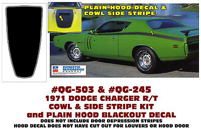ONE DECAL MULTI COLOR QG-228 1971 DODGE CHARGER SUPER BEE CIRCLE HOOD DECAL