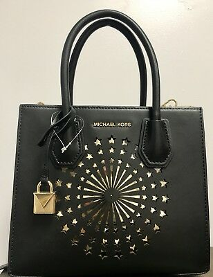 298 NWT MICHAEL KORS Studio Black Med Mercer Messenger Star Light Bag 5a6ead46159d2