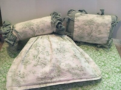 Green French Toile Crib Skirt And Two Pillows Susan Turner