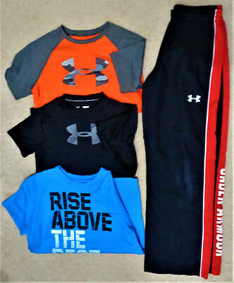 UNDER ARMOUR Youth Boys Mixed Lot Shirts & Winds Pants HEAT GEAR Size YLG