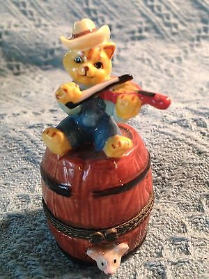 "Nos ""bear Playing Fiddle"" Hinged Trinket Box"