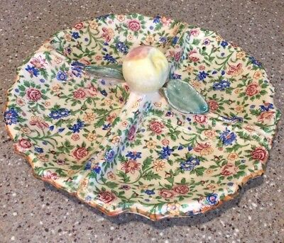 Vintage CHINTZ divided Dish Relish Vegetables Made in Japan Apple Blossom