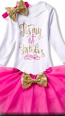 Baby GIRLS MY 1st BIRTHDAY CAKESMASH OUTFIT-PHOTO SHOOT LONG SLEEVE  TUTU OUTFIT