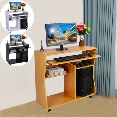 Wooden Computer Desk Mobile Workstation with Shelves for Home Office PC Table