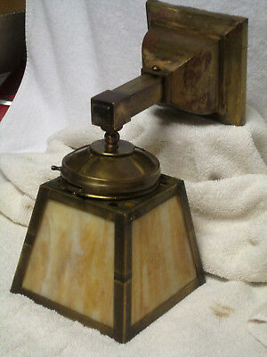 Mission 4 Panel Electric Slag Glass Hanging Brass Wall Sconce