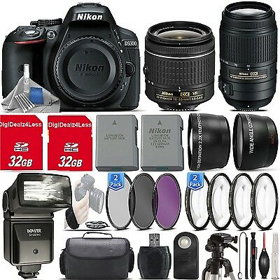 Nikon D5300 24.2MP DSLR Camera + 18-105mm VR Lens + 55-300mm VR+32GB+EXTRAS!