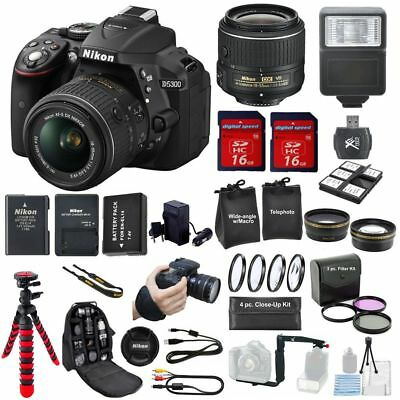 Nikon D5300 DSLR Camera + 16GB  + 18-55mm VR +  Sigma 70-300mm + Bundle+ EXTRAS!