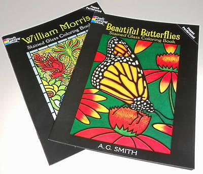 Lot of 2 Stained Glass Coloring Books: Beautiful Butterflies & William Morris