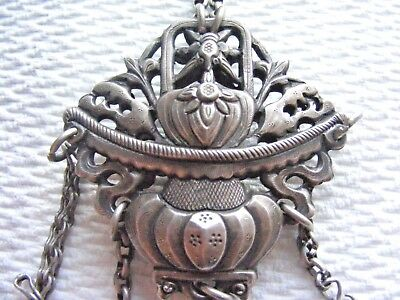 Antique Sterling Silver Chinese Qing Dynasty Repousse Chatelaine Ornament 19th C