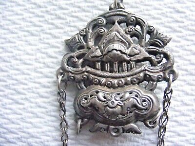 Antique Sterling Silver Chinese Qing Dynasty Repousse Chatelaine 19th C