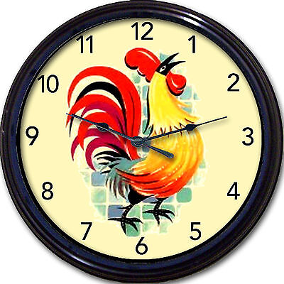 """Rooster Wall Clock Kitchen Tuscany Country French Farm Colorful New 10"""""""