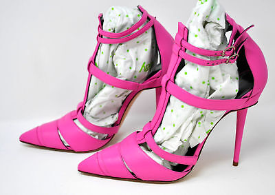67fb78fc854 MANOLO BLAHNIK PINK Pointed Toe Strappy Pumps size 39.5 (025 ...