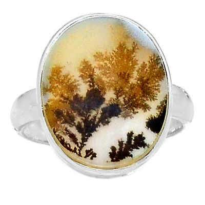 Scenic Dendritic Agate 925 Sterling Silver Ring Jewelry s.8.5 SDAR718