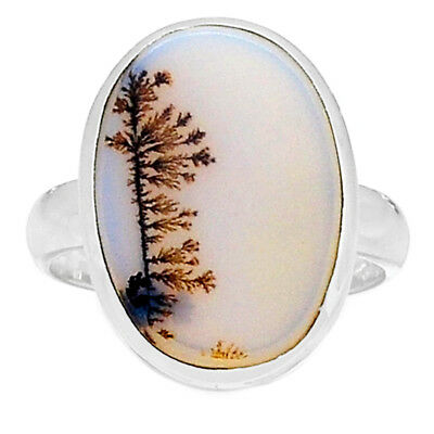 Scenic Dendritic Agate 925 Sterling Silver Ring Jewelry s.8 SDAR725